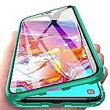 Carcasa para Xiaomi Mi Note 10 Lite, Magnética Funda [Marco de Metal] [9H Vidrio Templado de Doble Cara] Cubierta 360 Protección Aluminio Parachoques Magnet Case Funda, Verde
