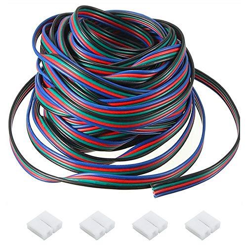BlueXP LED Verlängerungskabel 10m 4 polig LED Band RGB Verbindungskabel LED Strip Extension Kabel mit 4 Stück LED Schnellverbinder für RGB 5050 3528 2835 LED Strip LED Band SMD Streifen Licht
