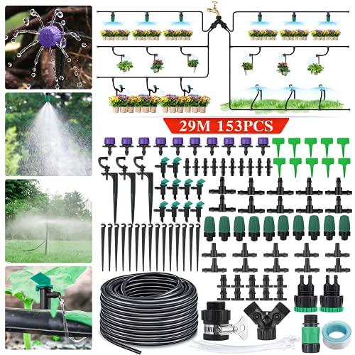 king do way 30m Kit per Irrigazione a Goccia Automatica, Sistema Irrigazione Giardino con Ugello Regolabile e Dripper, Drip Irrigation Kit di Microirrigazione per Giardino, Orto, Pianta in Vaso
