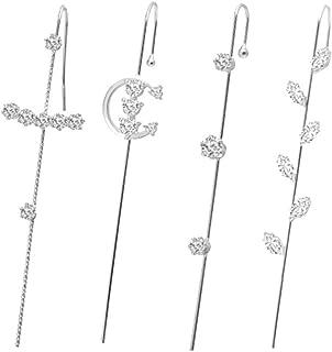 Ear Cuffs Crawler Hook Earrings Pearl Cubic Zirconia Rhinestone Stud Earrings Hypoallergenic Piercing Ear Wrap Climbers Ea...
