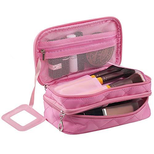 Make-up Bag Organizer für Frauen - Reise-Kosmetiktasche Wasserdicht mit Spiegel - Tragbare Make-up-Tasche mit Pinselfach Pink