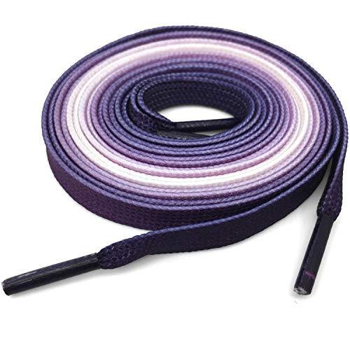DANHUA Flat Colorful Shoelaces 43 inch Gradient Rainbow Shoe Lace Dark Purple Shoestring 2 Pair