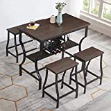 Hombazaar 4-Piece Dining Room Table Set, Counter Height Pub Table Set with Wine Storage and Glass Holder, Industrial Style Kitchen Table with 1 Bench and 2 Stools, Dark Brown Finish