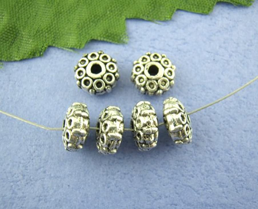 50pc Antique Silver Circle Pattern Spacer Beads 8x3mm Beading Supplies