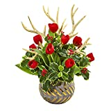 Nearly Natural 23in. Tulips, Antlers and Holly Leaf Artificial Bowl Silk Arrangements, Red