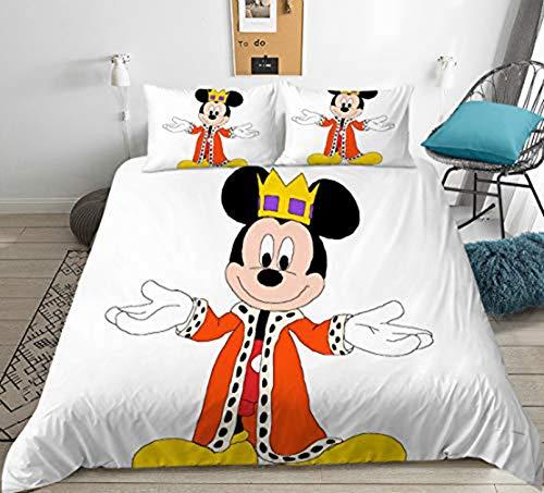 Juego de ropa de cama con diseño de Minnie Mickey Mouse, estampado 3D, de microfibra, para niños y niñas (A,140 x 210 cm)