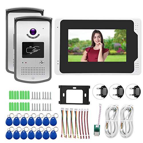 Sistema de Timbre con videoportero, visión Nocturna con Cubierta Impermeable, Sistema de videoportero, para teléfonos Inteligentes, mejoras para el hogar(Transl)