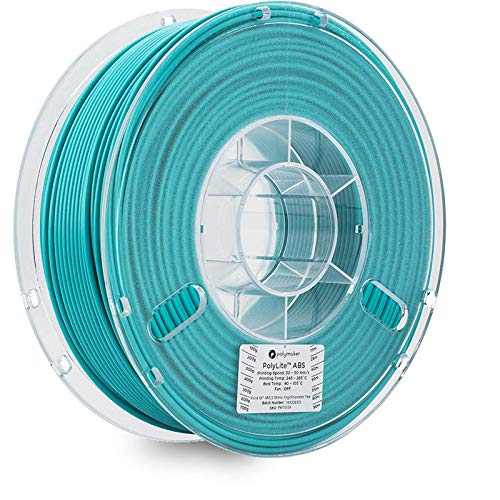 Polymaker PolyLite 3D Printer Filament, ABS Filament, 1.75mm Filament, 2.2lb(1Kg) Polymaker Teal Filament [Random Outer Packaging]