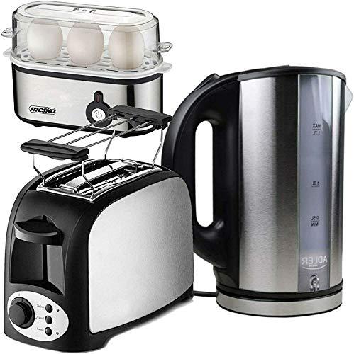 TronicXL 2-Schlitz Toaster 750W mit Brötchen-Aufsatz + Wasserkocher + Eierkocher Frühstück-Set Frühstücks-Set - mit Aufwärm- und Auftau-funktion + Automatische Abschaltung Edelstahl Design