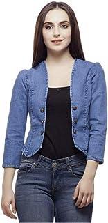 Antik Full Sleeve Comfort Fit Regular Collar Blue Womens Denim Jacket