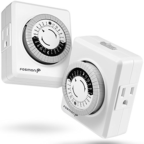 Fosmon Indoor 24 Hour Mechanical Outlet Timer [ETL Listed], Programmable Plug-in Timer with 2-Outlet...