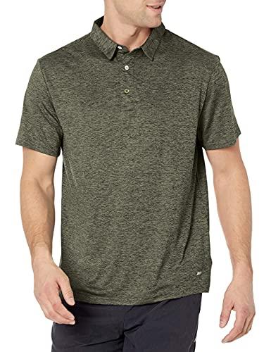 Amazon Essentials Men's Slim-Fit Tech Stretch Polo Shirt, Olive Heather, Large
