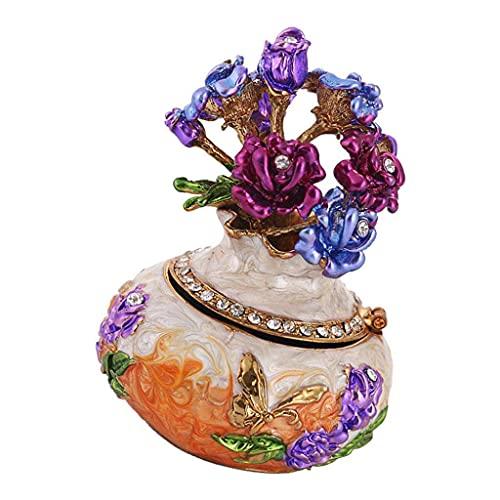 chiwanji Schmuckkästchen Emaillierte Vase mit Kristall Strasssteine Deko, Sammlerstück Ring Halter Ringbox - Orange