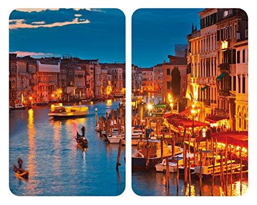 WENKO Plaque de protection en verre universel Venice by Night - set de 2, pour tous les types de cuisinières, Verre trempé, 30 x 52 cm, Multicolore