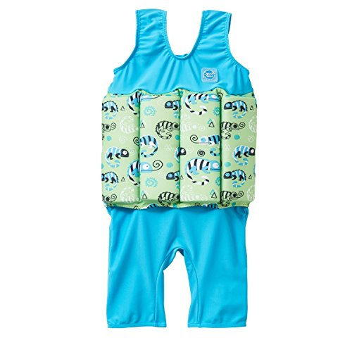 Splash About Children's Kids Short John Floatsuit with Adjustable Buoyancy Float Suit, Green Gecko, 4-6 Jahre