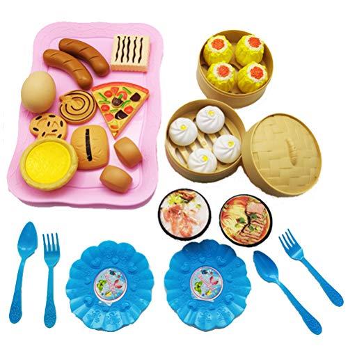 Borstu Juguetes de Cocina 31 Piezas Juguetes de Comida China DIY Juegos de rol Juguetes educativos de Aprendizaje con Tenedores, cucharas para niños y niñas