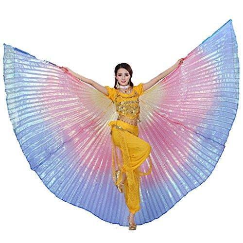 Wuchieal Bauchtänzerin Isis Wings Halloween Darstellende Angel Wings für Carnival Einschließlich Stöcke/Tasche (Regenbogen, One Size)