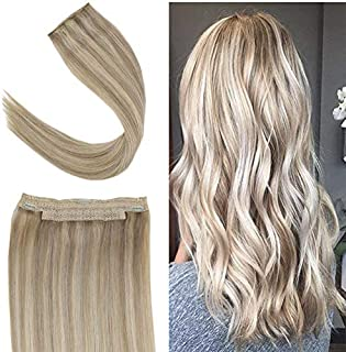 Youngsee 18inch Remy Blonde Human Hair Halo Extensions Dark Ash Blonde Highlight #22 Blonde Hair Extensions Halo Silky Straight Real Hair 80gram/set