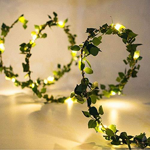 Solar Artificial Green Leaf Garland String Lights 10m 100 LED Tiny Leaf Garland Warm White Ivy Vine String Light Vine Fairy Lights for Party Wedding Garden Christmas Room Porch Decor