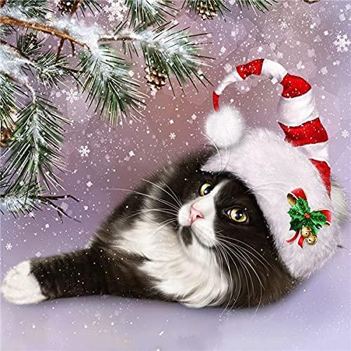 Kits de gato con pintura de diamantes 5d, mosaico de diamantes, gorro navideño completo, imágenes de diamantes de imitación, regalo hecho a mano A1 60x80cm