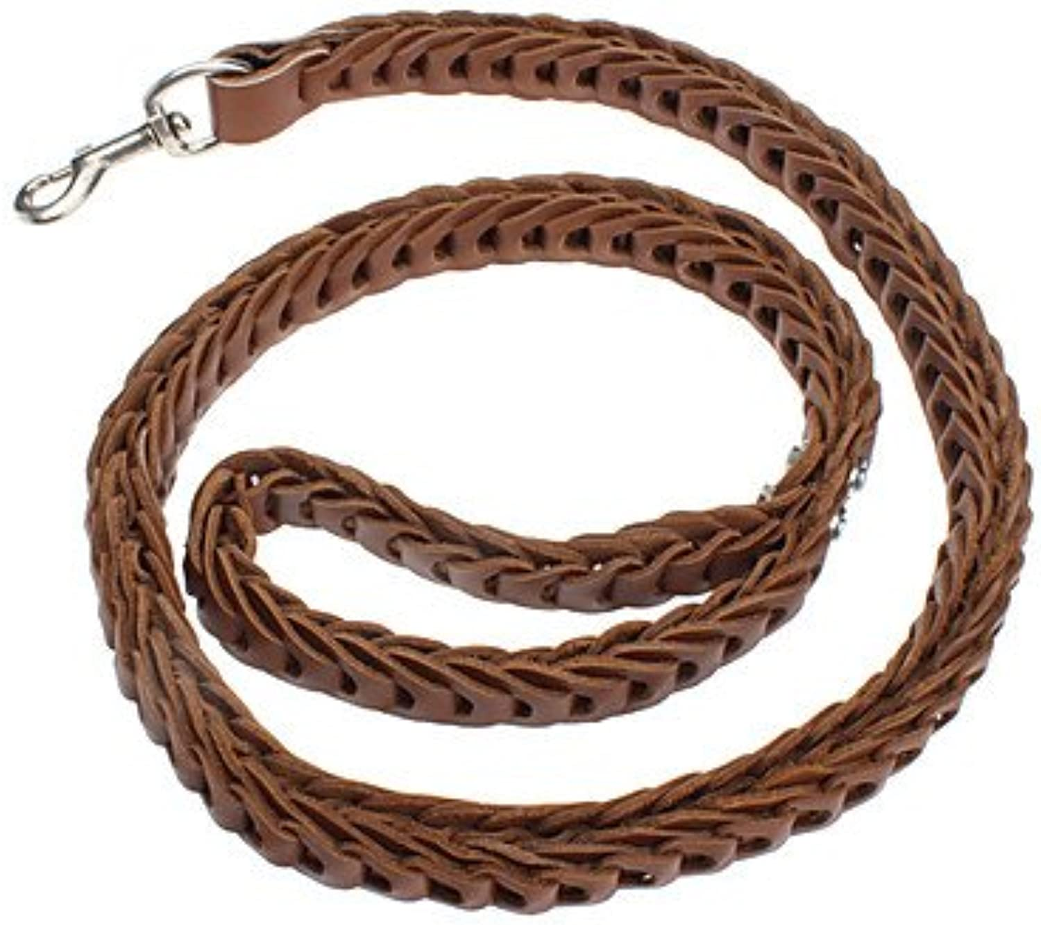 Quick shopping Retro Knitted Style Leather Leash for Dogs (120cm 47inch)