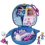 Polly Pocket Cofre en forma de Narval con Lila, muñecas y trineo con perrito (Mattel GKJ52)