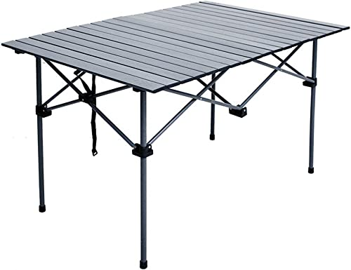 ZFF Pliant Tables de Camping Ajustable Jambes Aluminium Roll Up Portable Table pour Pique-Nique Jardin Barbecue 111  82  70 26cm