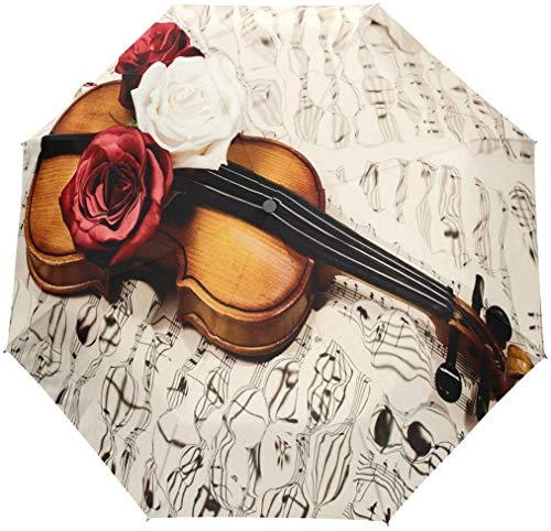 Oude viool muziek noot bloemen 3 vouwen Auto openen sluiten paraplu