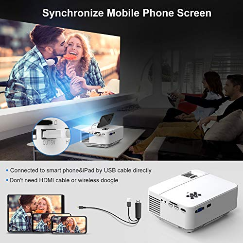 TOPVISION Mini Video Projector 4500LUX Outdoor Movie Projector with Synchronize Smart Phone Screen,Full HD 1080P Supported LED Projector Compatible with Fire Stick,HDMI,VGA,USB,TV,Box,Laptop,DVD