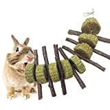 AUOKER Apple Sticks Pet Chew Toys, Thin Apple Wood Sticks for Bunny, Rabbits, Chinchilla, Guinea Pigs, Hamsters, Parrots, and Other Small Animals Chewing, Pet Chew Snacks for Teeth with Grass Cake