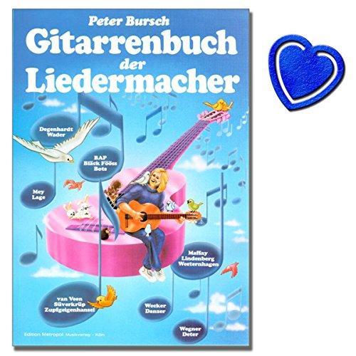 Gitarrenbuch der Liedermacher von Peter Bursch - Buch mit über 30 Titeln der bekanntesten deutschsprachigen Liedermachern - mit bunter herzförmiger Notenklammer