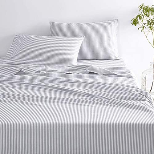 Wake In Cloud Gray Striped Sheet Set Grey Vertical Ticking Stripes Pattern Printed on White product image