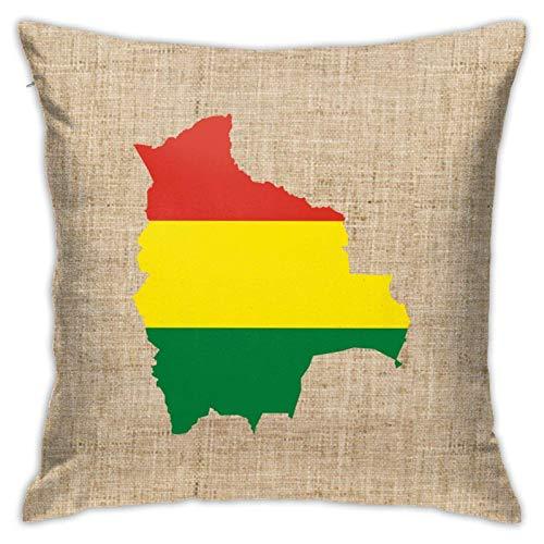 Funda de almohada cuadrada decorativa para sofá o coche, diseño de mapa de la bandera de Bolivia, 45,7 x 18 pulgadas