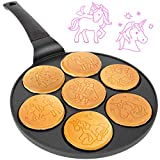 Unicorn Mini Pancake Pan - Make 7 Unique Flapjack Unicorns, Nonstick Pan Cake Maker Griddle for Breakfast Fun & Easy Cleanup