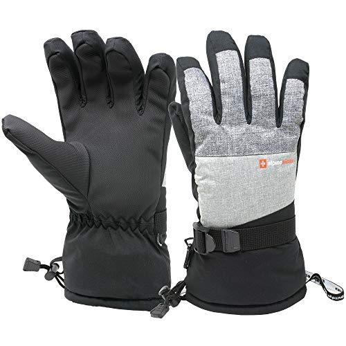 Alpine Swiss Mens Waterproof Gauntlet Ski Gloves Winter Sport Snowboarding Windproof Warm 3M Thinsulate LT GRY LG