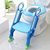 KEPLIN Baby Toilet Reducer with Folding Ladder, Step Up Trainer Toilet Kit with Soft Cushion Universal Model (Blue)