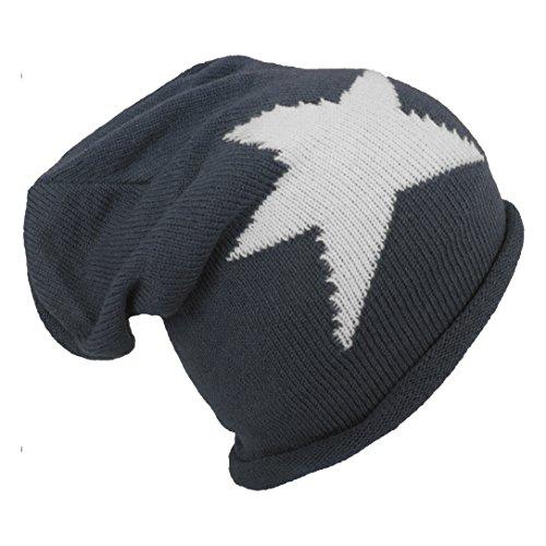 Brubaker Unisexe Slouch Beanie Bonnet tricoté avec motif étoile - Gris - Taille Unique