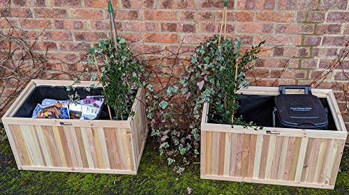 BinGarden Wooden Pair of Planter Boxes 100L each. Bin Garden Flower Planters store Kerbside Recycle Boxes/hide Curbside Recycling Trash Bins or Food Waste Garbage Bins, Natural Colour