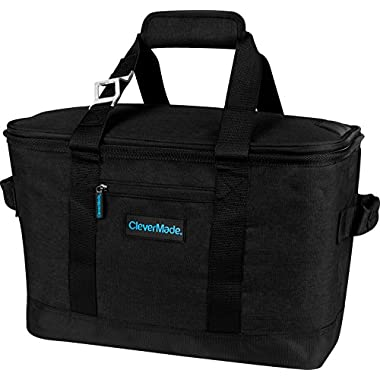 CleverMade SnapBasket 50 Can, Soft-Sided Collapsible Cooler: 30 Liter Insulated Tote Bag, Black/Black