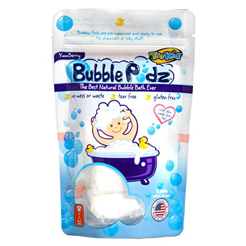 TruKid Bubble Podz for Baby, Refreshing Bubble Bath for Sensitive & Soft Skin, Tear Free Bath Bubbles, Enriched with Vitamin E, Aloe and Oatmeal, Yumberry Scent, All Natural Ingredients (8 Podz)