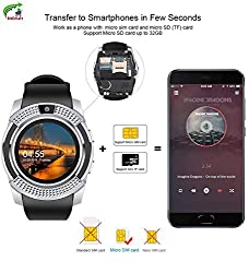 RitEmart RitFit V8 Smart Watch 3G/4G Sim Card Supported with Bluetooth Security Camera Memory Card Slot Sweat Proof Fitness Activity Tracker Health Monitor Gadget Black Strap (Silver)