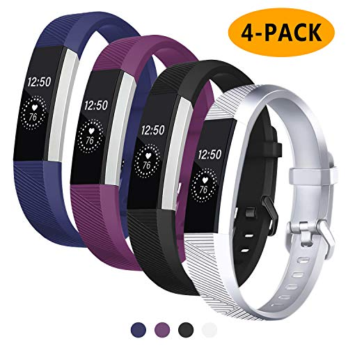 Welltin Bands Compatible with Fitbit Alta/Alta HR for Women and Men(4 Pack), Classic Soft Silicone Sport Strap Replacement Wristband for Fitbit Alta/Alta HR/Fitbit,Small Large 1