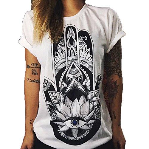 Hippolo Damen T-Shirt weiß Baumwolle mit Schöne Blume Aufdruck (XXL, 4)