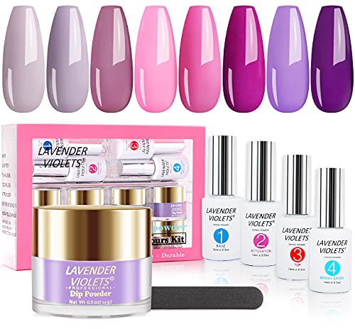 Lavender Violets Acrylic-Fast-Dry-Dip-Powder-Nail Color Kit 0.5 oz/bot. Large Capacity Pink n Purple Rapid Dry Dipping Powder with Liquid Gel Set J756