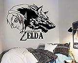 Moderne Mode Wandaufkleber personalisierte Wandtattoo Die Legende von Zelda Wolf Link Wandkunst Aufkleber Junge Schlafzimmer Kinderzimmer Wandbild 58X76Cm
