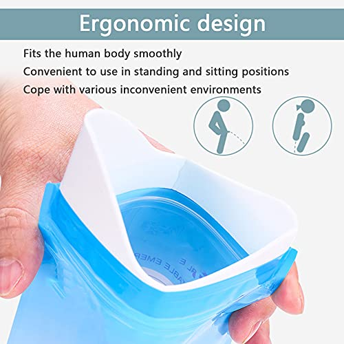 GYAM 8 Pcs Portable Disposable Urine Bags, Emergency Pee Bags with Female Silicone Urinal, Absorbent Sealable Vomit Bags for Camping Travel Climbing Traffic Jam,Blue