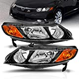 AmeriLite JDM Black Replacement Headlights Set for 2006-2011 Honda Civic Sedan 4 Door/Hybrid - Passenger and Driver Side