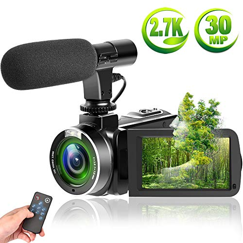 SUNLEA Video Camera Vlogging Camera with MicrophoneFull HD 1080p 30fps 24.0MP Video Camcorder for YouTube Support Remote Controller