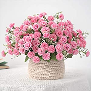Silk Flower Arrangements Artificial and Dried Flower Small Lilac Flowers Bundle Artificial Fake Silk Flowers Flores for Home Party Garden Decoration Wreath 20 Heads - ( Color: Pink )