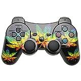 TPFOON Joystick PS3, Senza Fili Controller con Cavo di Ricarica, Doppio Vibrazione SIXAXIS Gamepad Joypad per Playstation 3 - Foglia